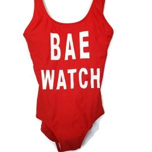 Swim - Bae Watch Red One-Piece Swim Suit Size S NWOT